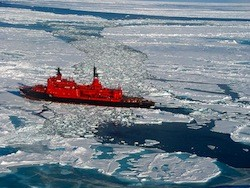 Ships are trapped in the ice in the Sa of Okhotsk