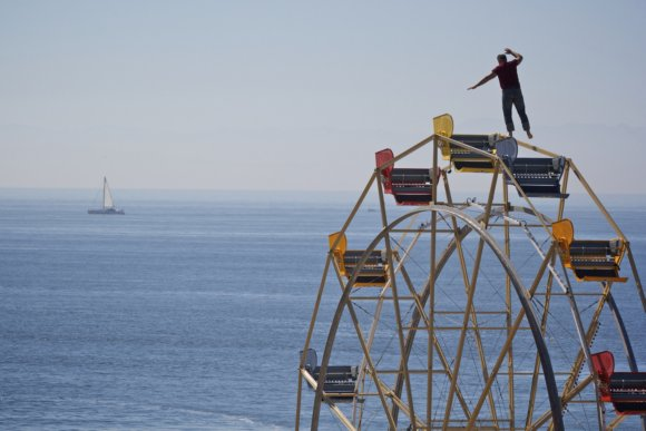 Nik Wallenda practicing on the Ferris wheel in Santa Cruz Beach