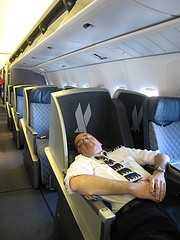 Pilot sleeping in business class